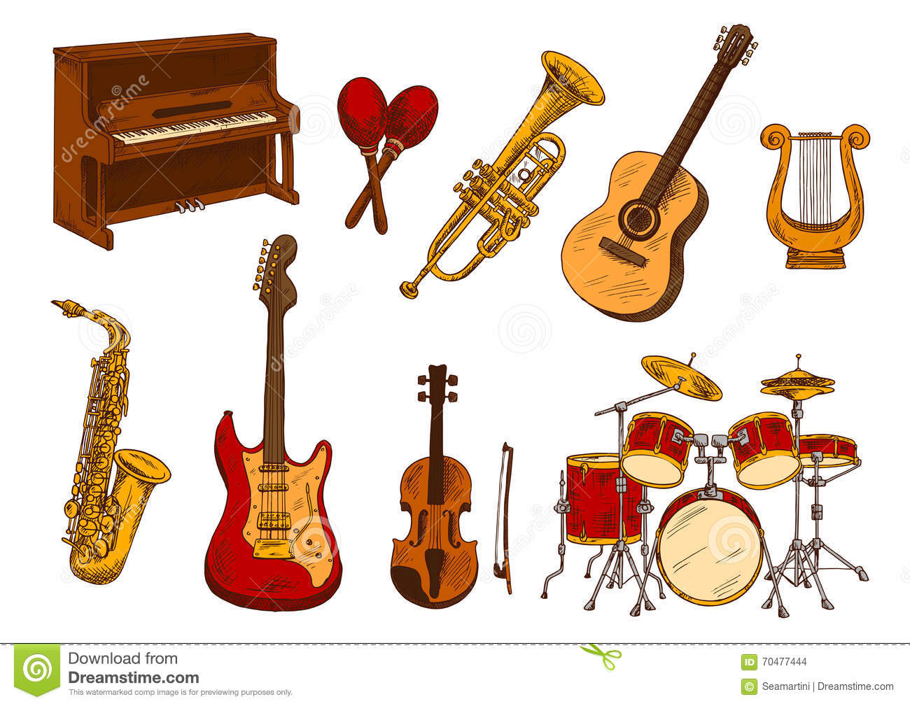 Retro Sketch Of Classical Musical Instruments Stock Vector