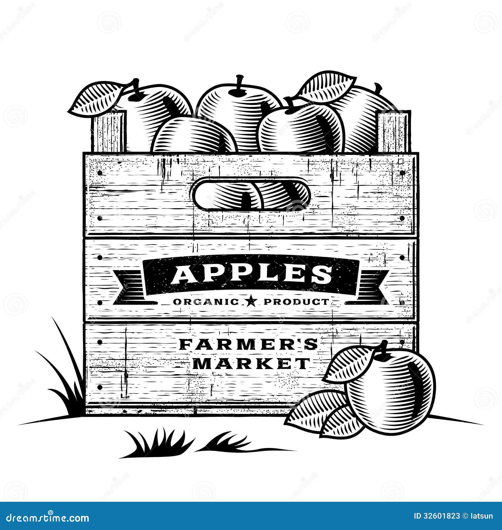 Retro skrzynka jabłka czarny i biały