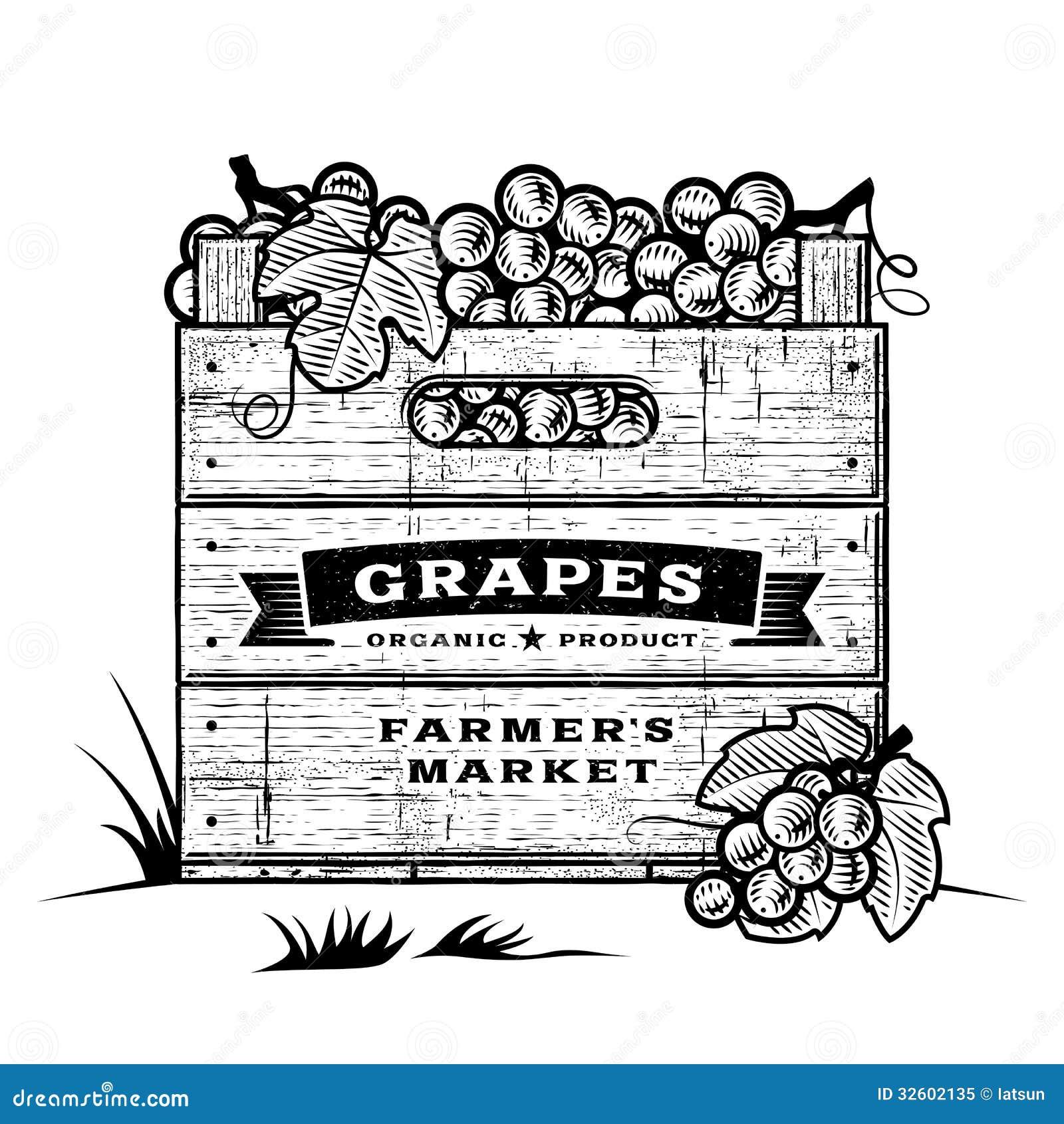 Retro skrzynka winogrona czarny i biały
