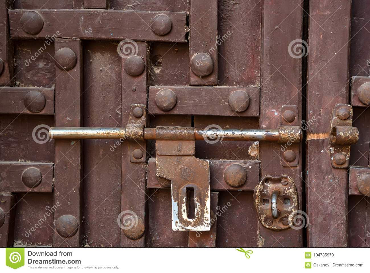 Door Latch On Wooden Surface Stock Image Image Of Aged Closed