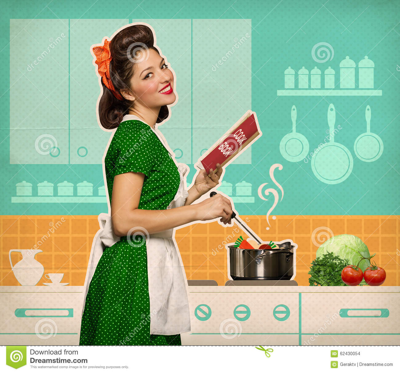 Retro Woman In Kitchen: Retro Smiling Woman Cooking And Reading Recipe Book In Her