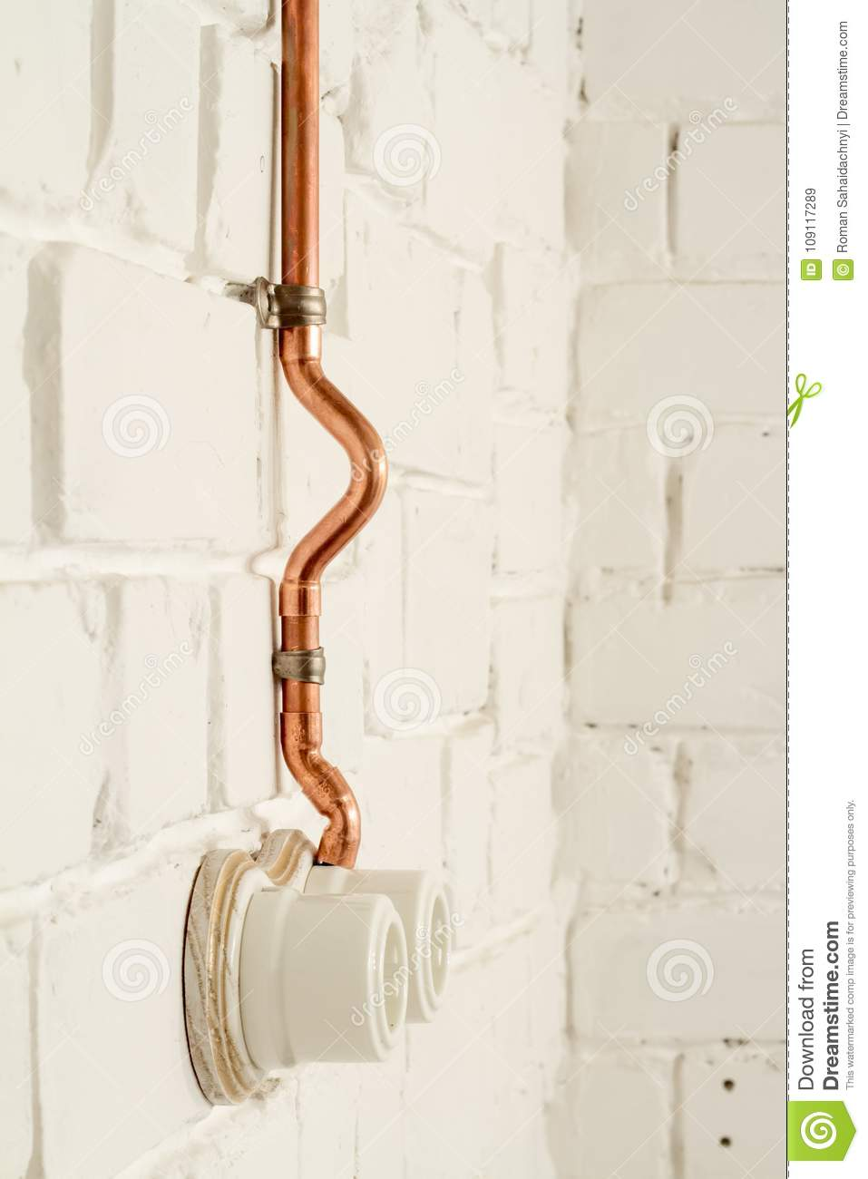 A Vintage Outlet And Electrical Wiring In Copper Tube Stock Image Wall