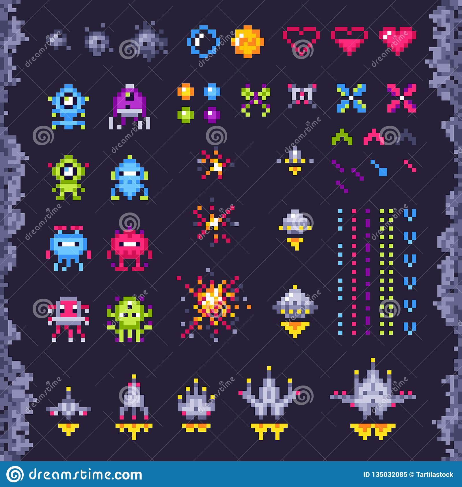 Retro space arcade game. Invaders spaceship, pixel invader monster and retro video games pixel art isolated objects