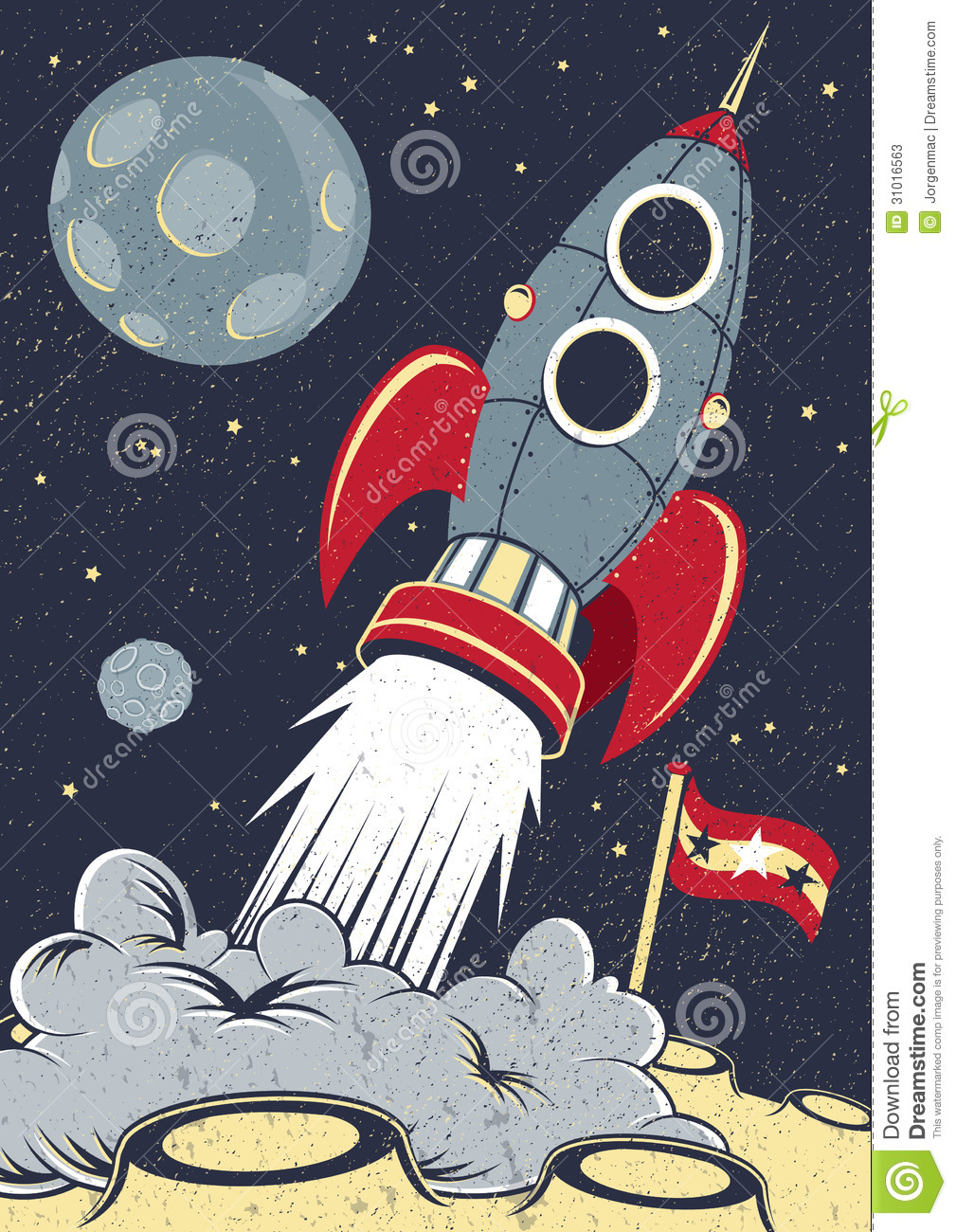 Retro space rocket lifts off stock photos image 31016563 for Retro outer space