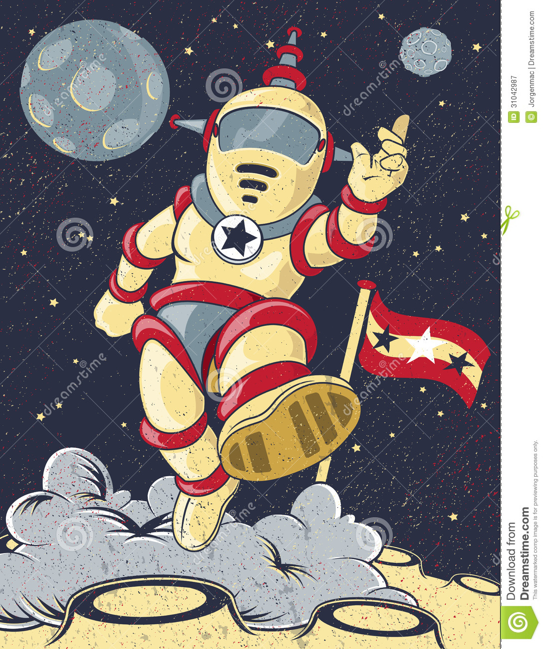 Retro spaceman stock vector image of moon revival for Retro outer space