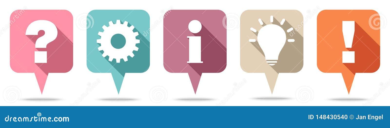 Retro Speechbubblesvraag, Werk, Informatie, Idee & Antwoord