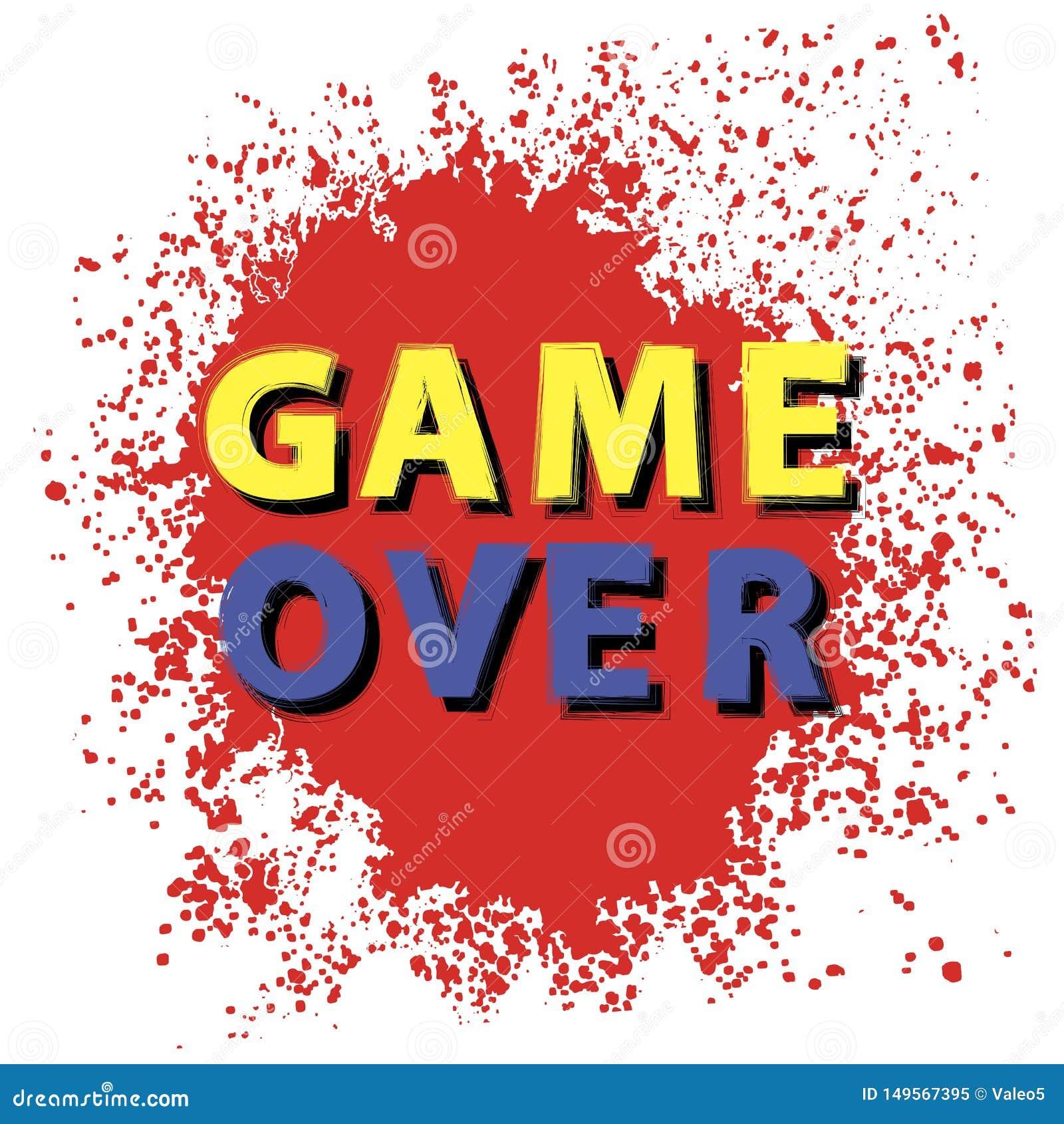 Retro- Spiel über Zeichen mit roten Tropfen auf weißem Hintergrund Spielkonzept Videospiel-Schirm