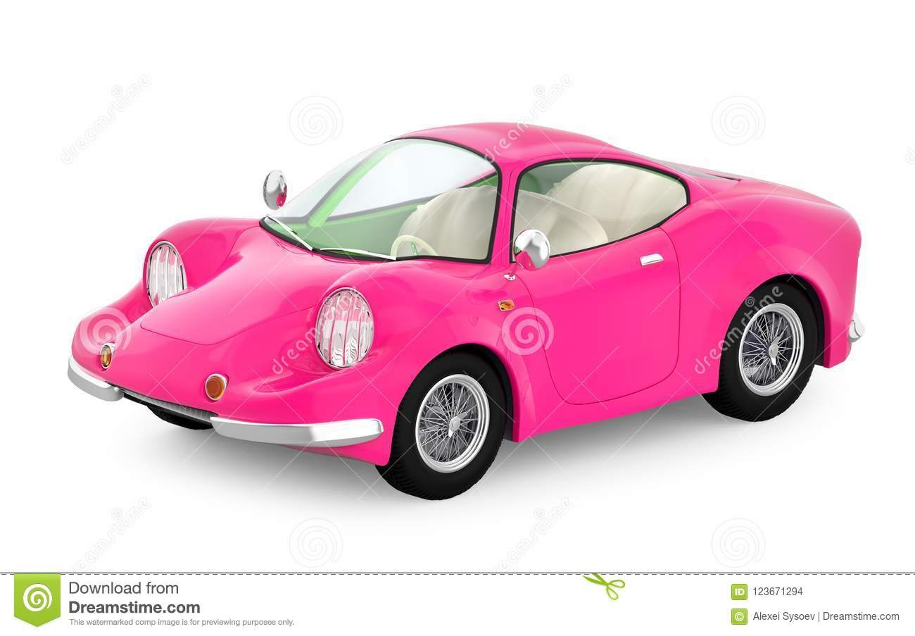 Retro Sport Car Cartoon 3d Pink Stock Illustration Illustration Of