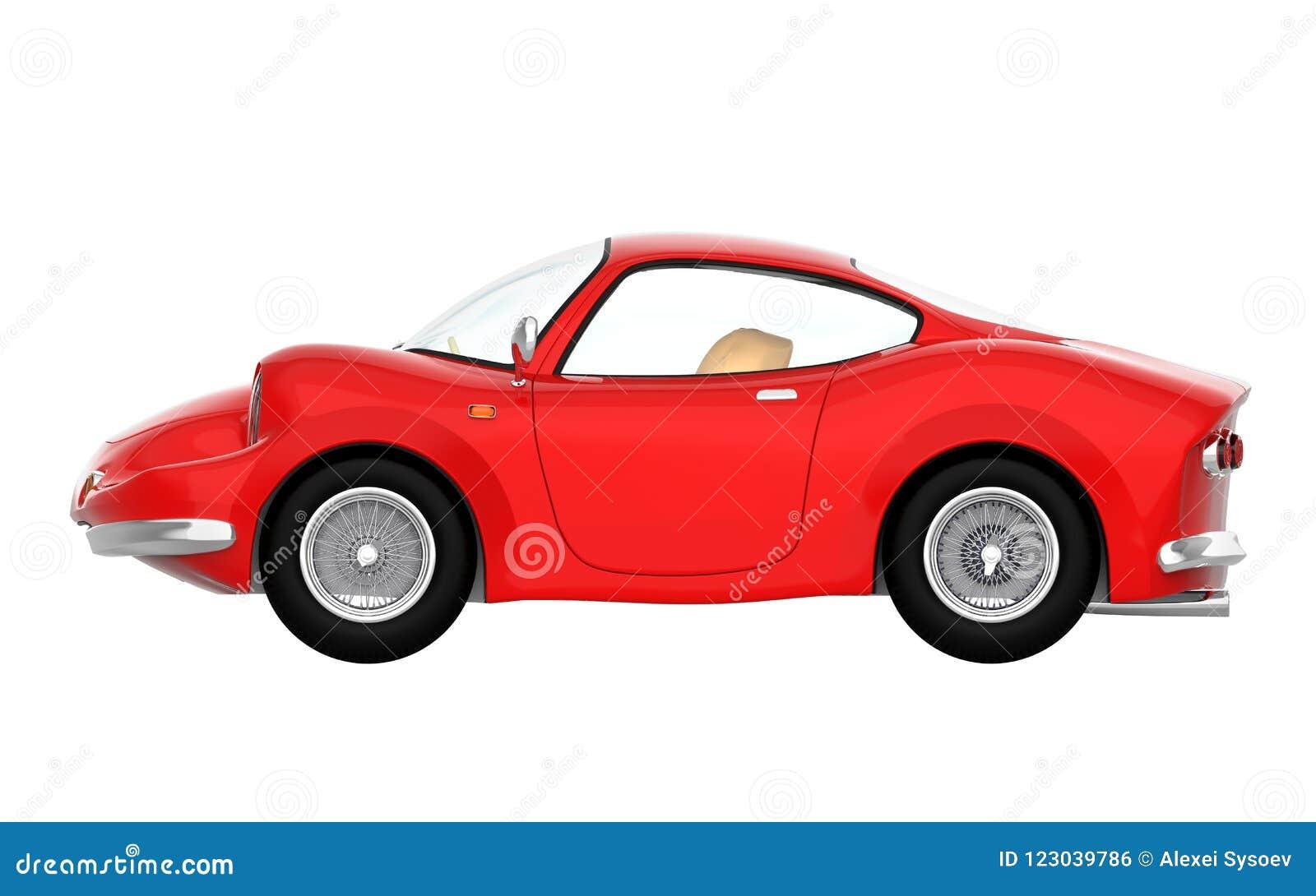 Retro Sport Car Cartoon 3d Side Stock Illustration Illustration Of