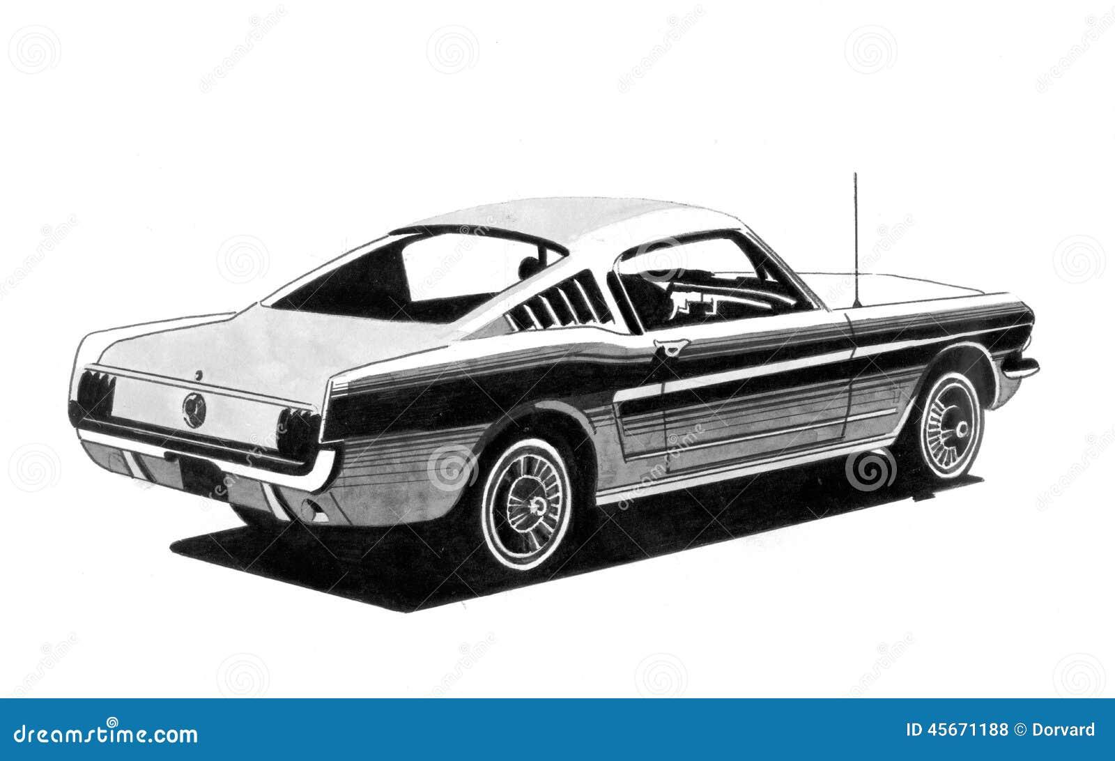 Retro Sport Car Drawing Stock Illustration Illustration Of Image