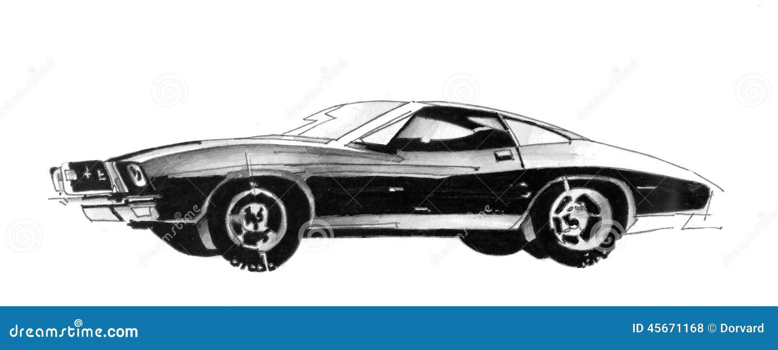 Retro Sport Car Drawing Illustration 45671168 Megapixl