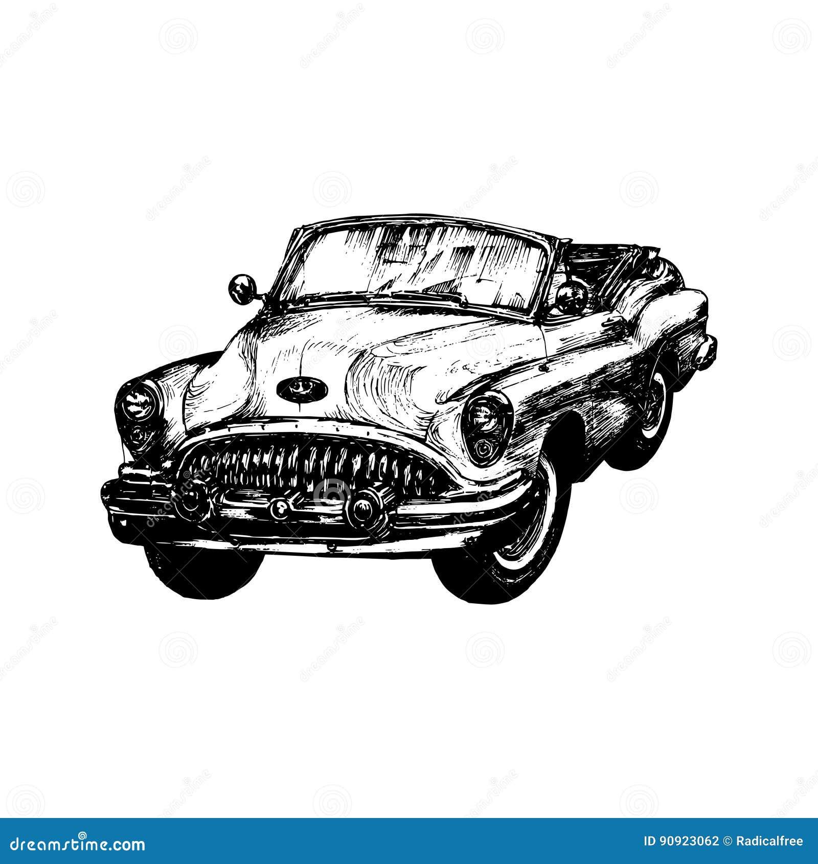 Retro Sport Car Vector Illustration. Hand Sketched Retro Automobile ...