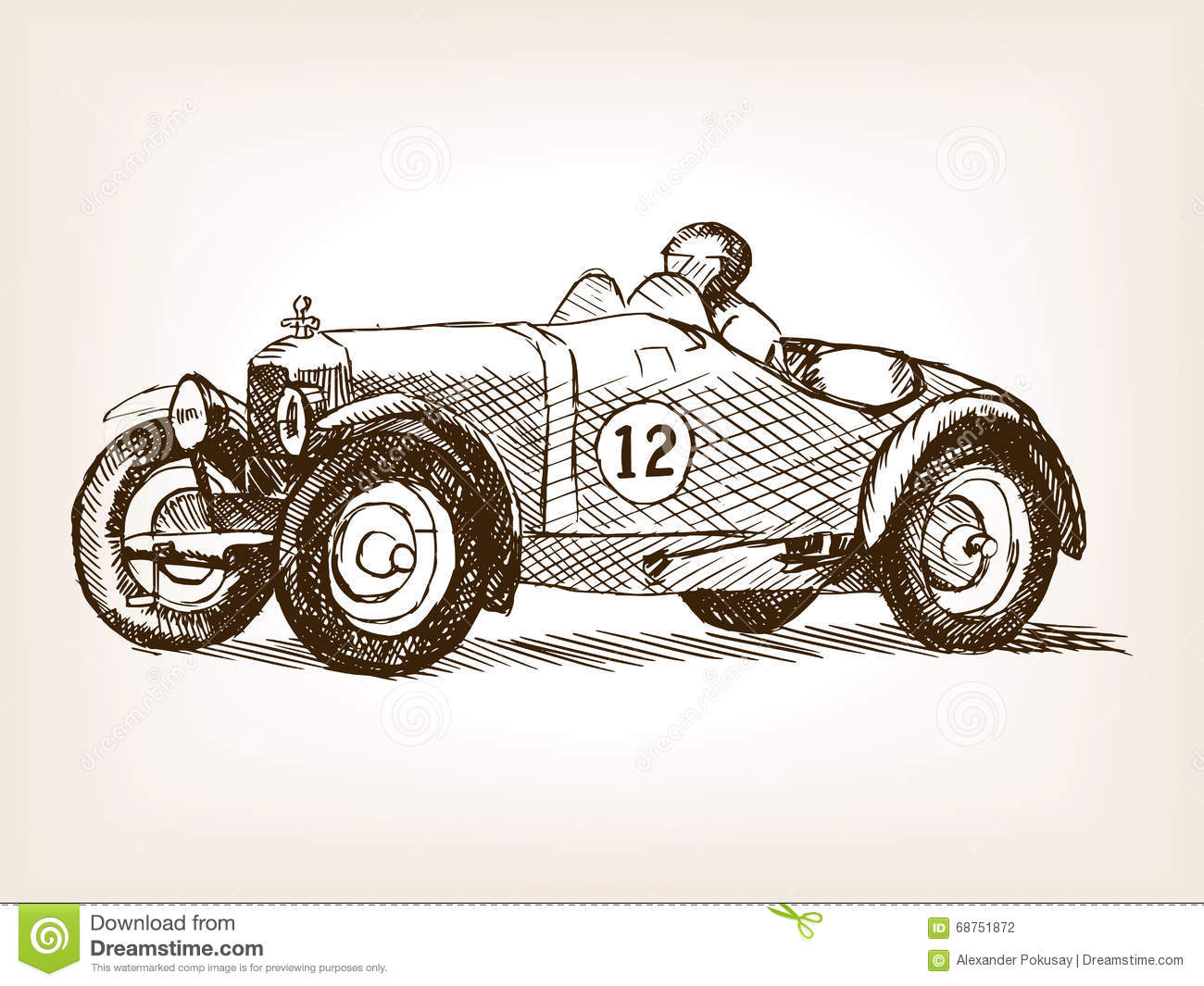 Notebook And Pen Sketch Stock Vector Art More Images Of: Retro Sport Race Car Hand Drawn Sketch Vector Stock