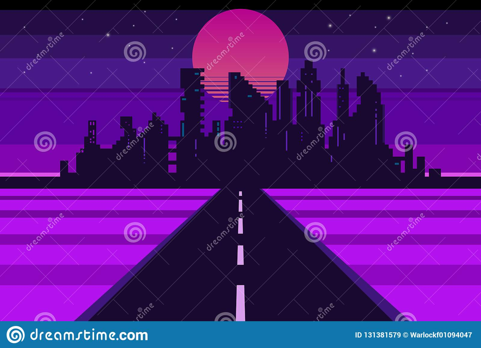 Retro stadslandschap, futuristische achtergrond
