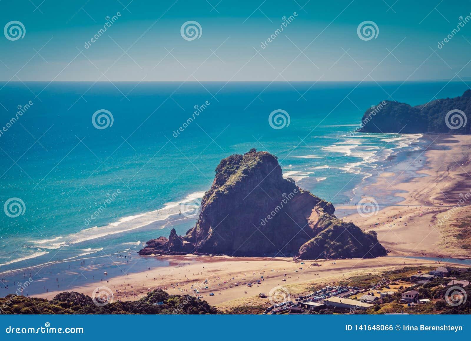 Retro-stil foto av Lion Rock i mitten av den Piha stranden på en härlig sommardag auckland New Zealand