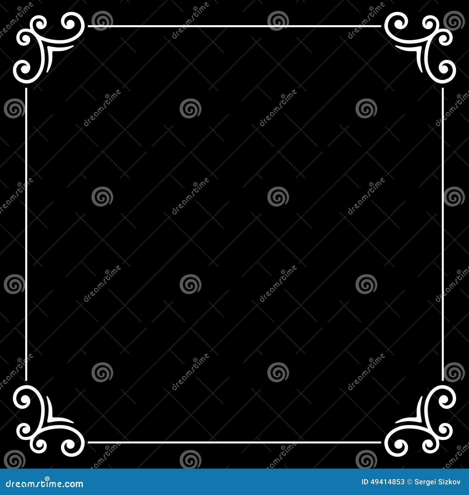Download Retro- Stiller Film-kalligraphischer Rahmen Auf Schwarzem Vektor Abbildung - Illustration von tinte, gruß: 49414853