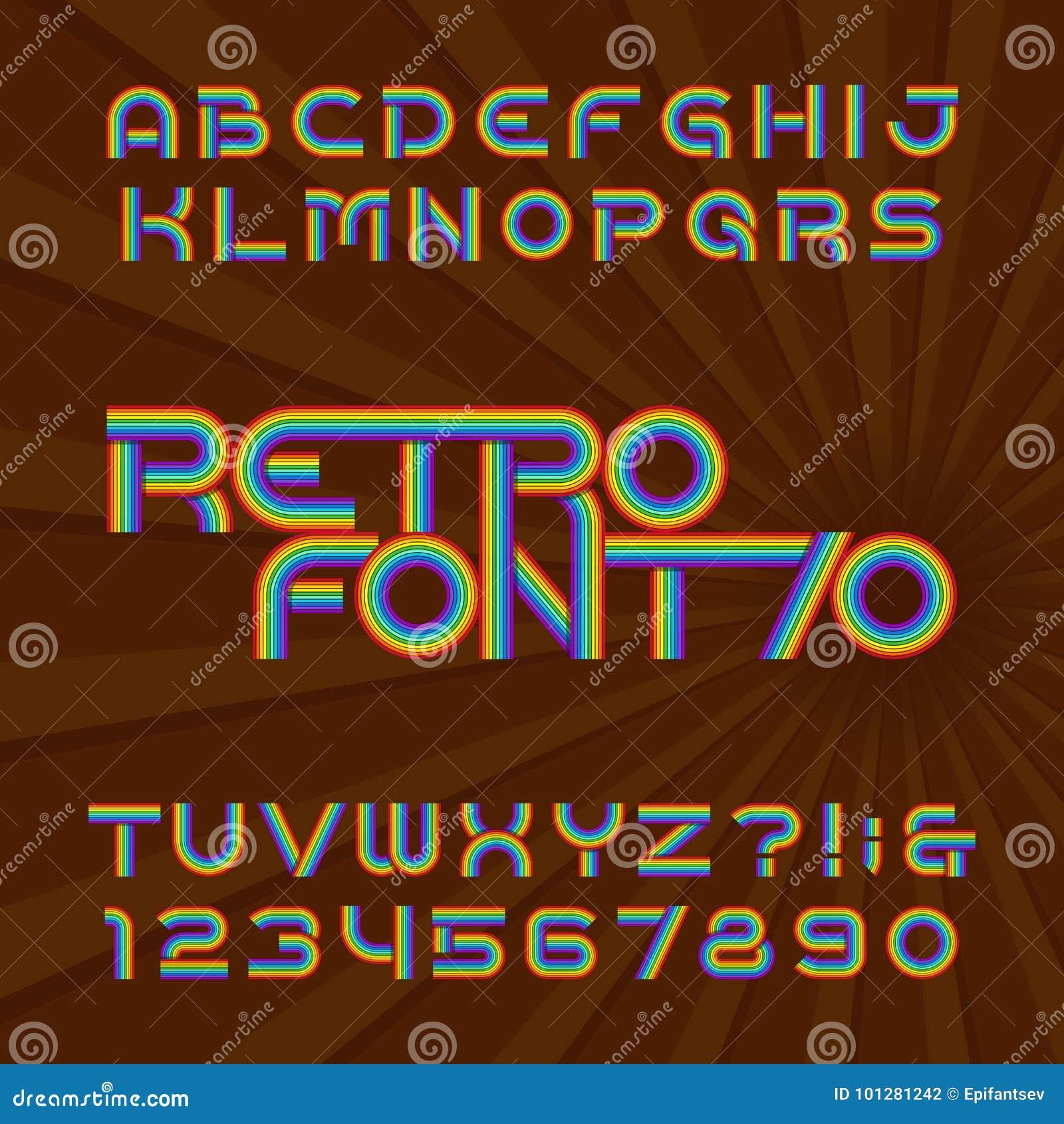 Retro stilsort för bandalfabetvektor Skraj typbokstäver och nummer i stil för 70 ` s