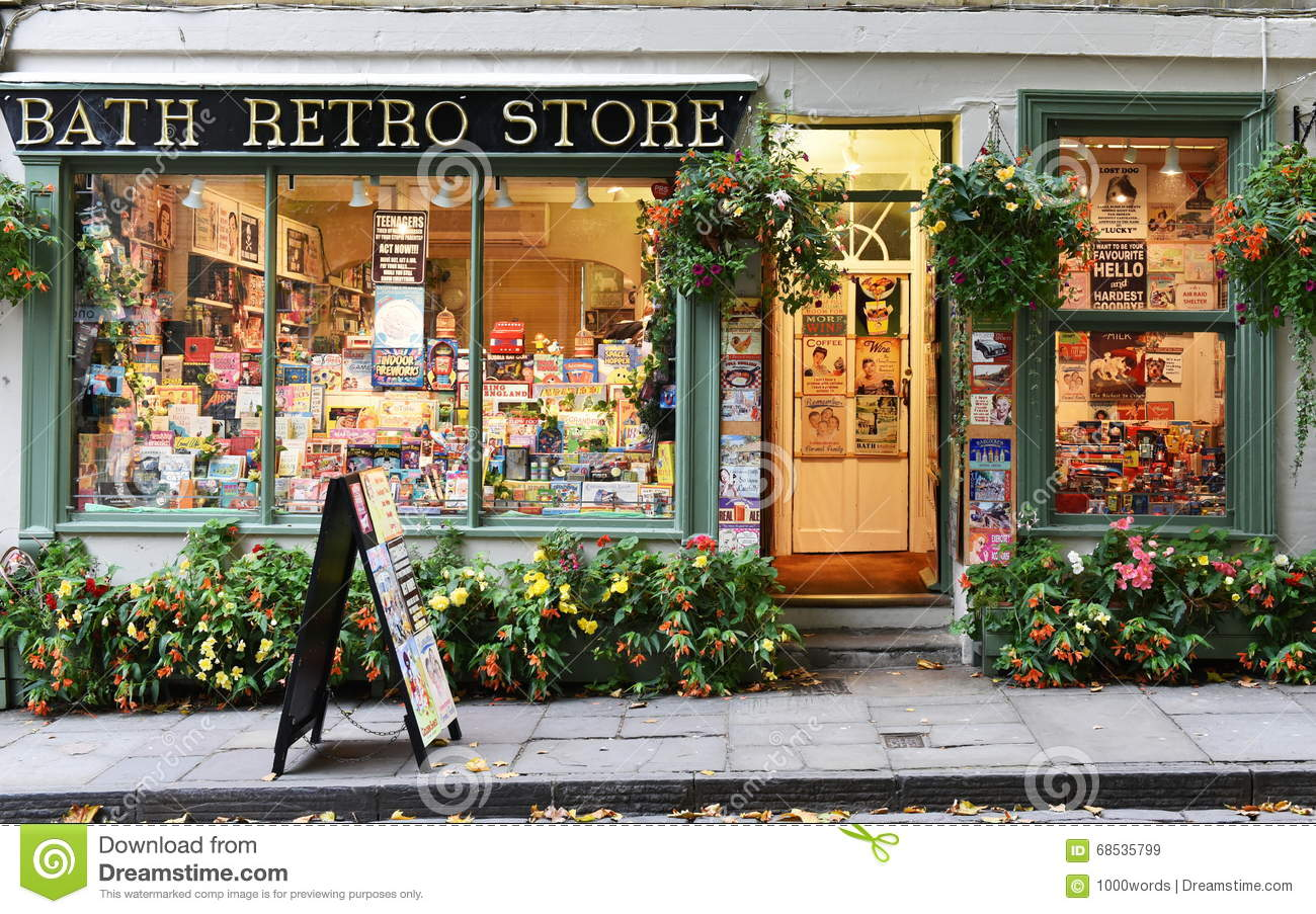 d82ede7c2e49 BATH, UK - OCT 18, 2015:View of a retro store on a city centre street. The  Unesco World Heritage city in Somerset is famous for it shopping, ...