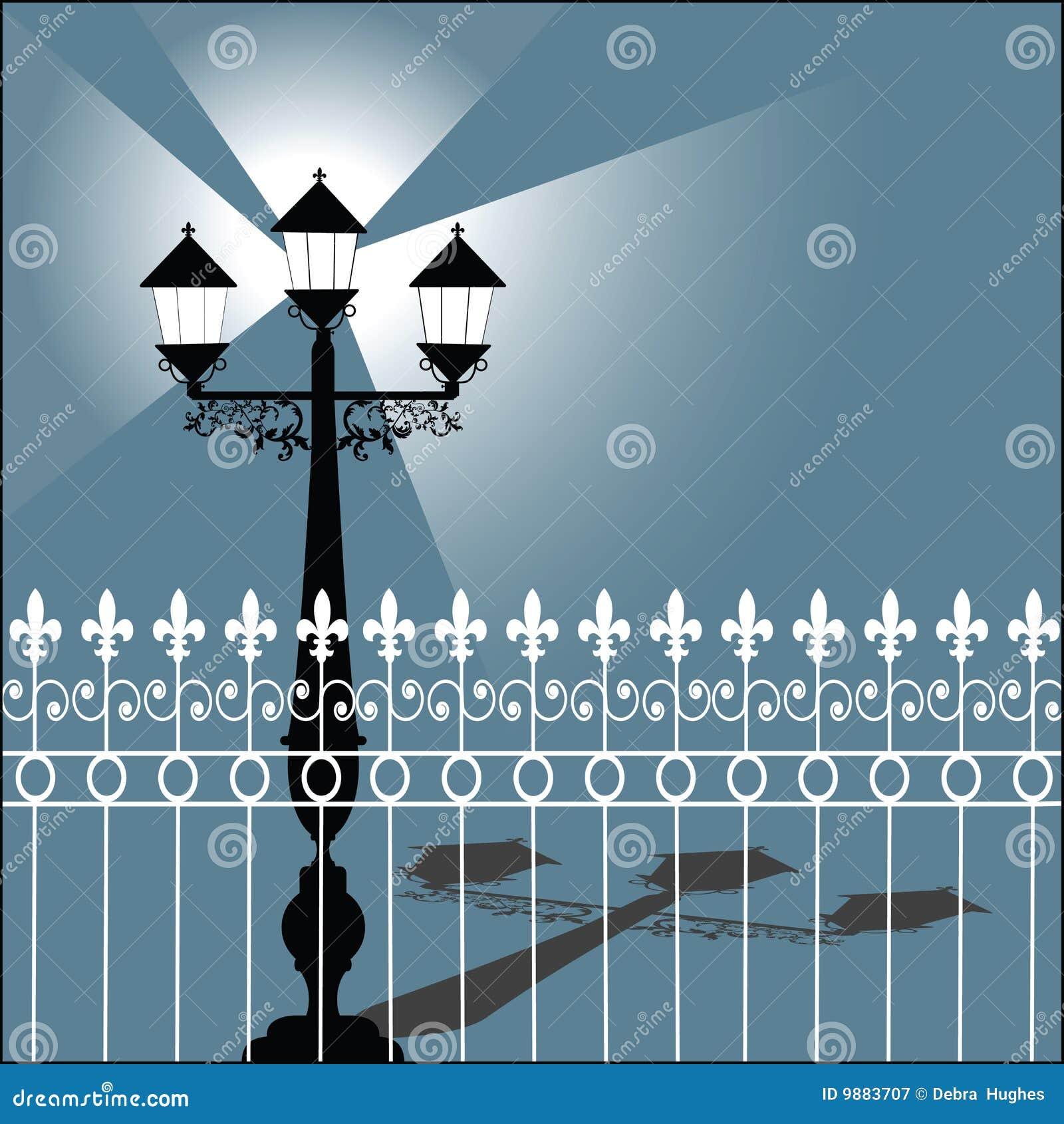 Retro streetlamp för staket