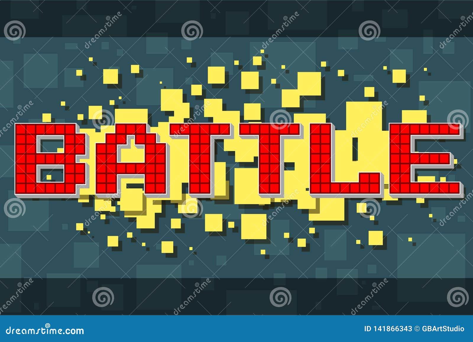 Retro stridknapp för rött PIXEL för videospel
