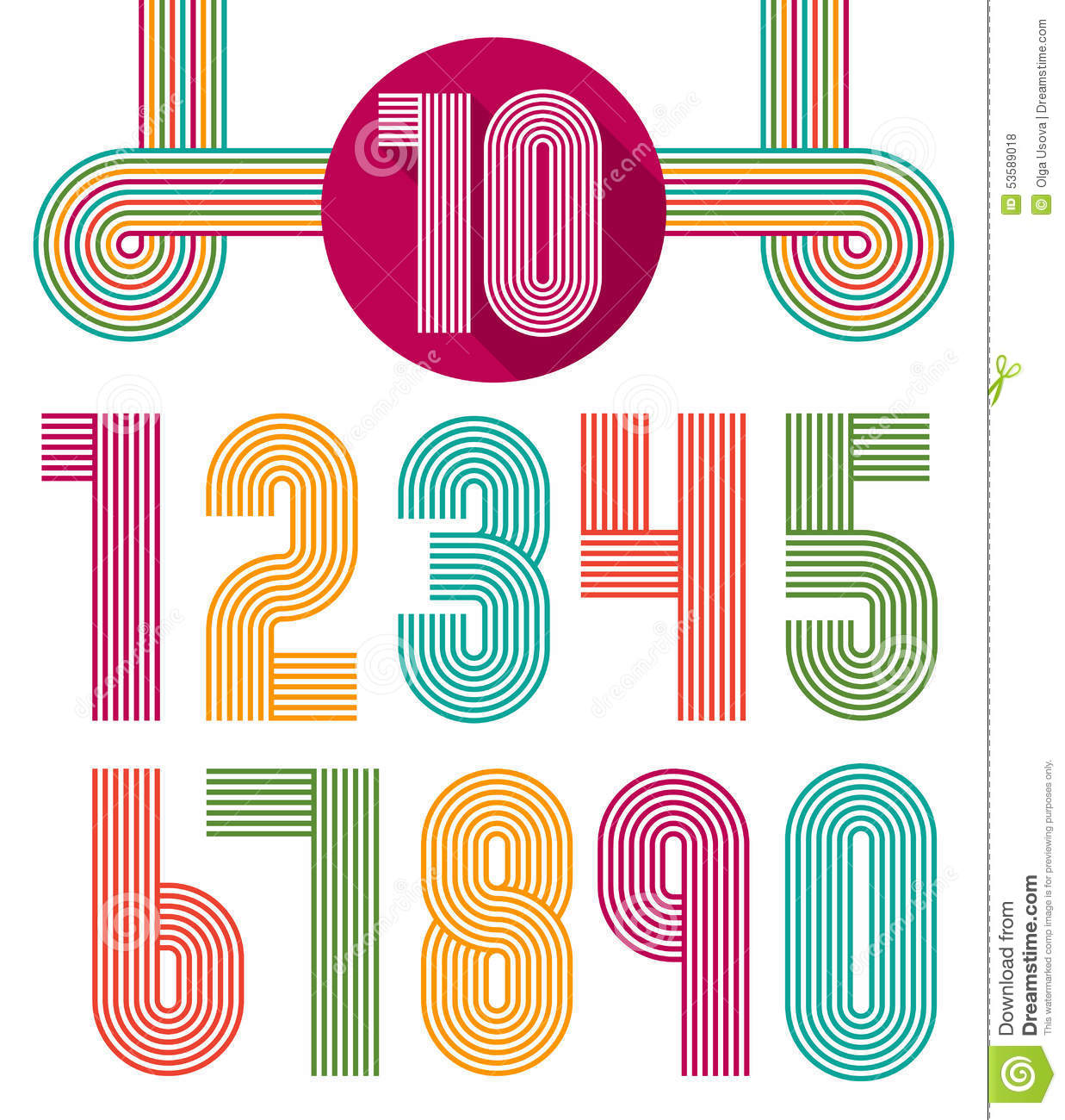 Retro Stripes Funky Numbers Set Stock Vector - Image: 53589018