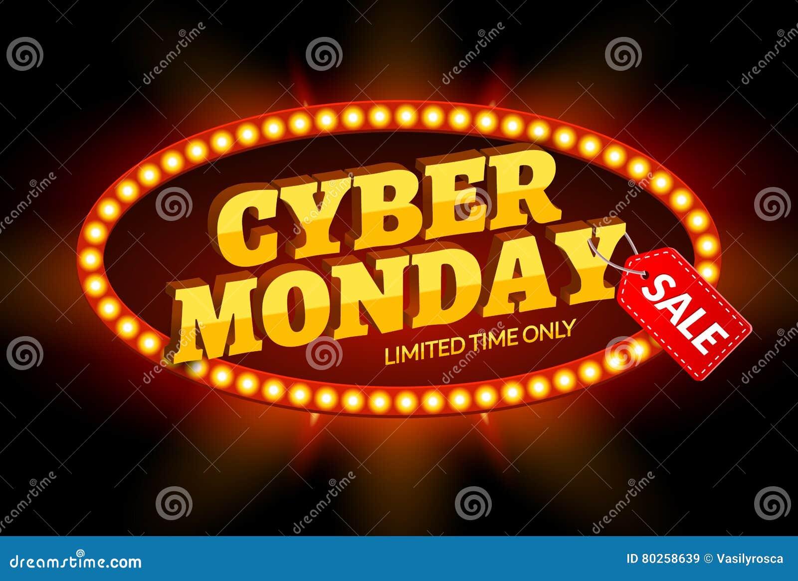 Retro struttura leggera di vendita cyber di lunedì Modello di progettazione del fondo di vettore per la vendita e gli sconti del