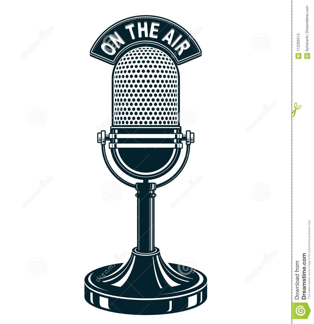 Retro Studio Microphone Vector Illustration. Radio ...