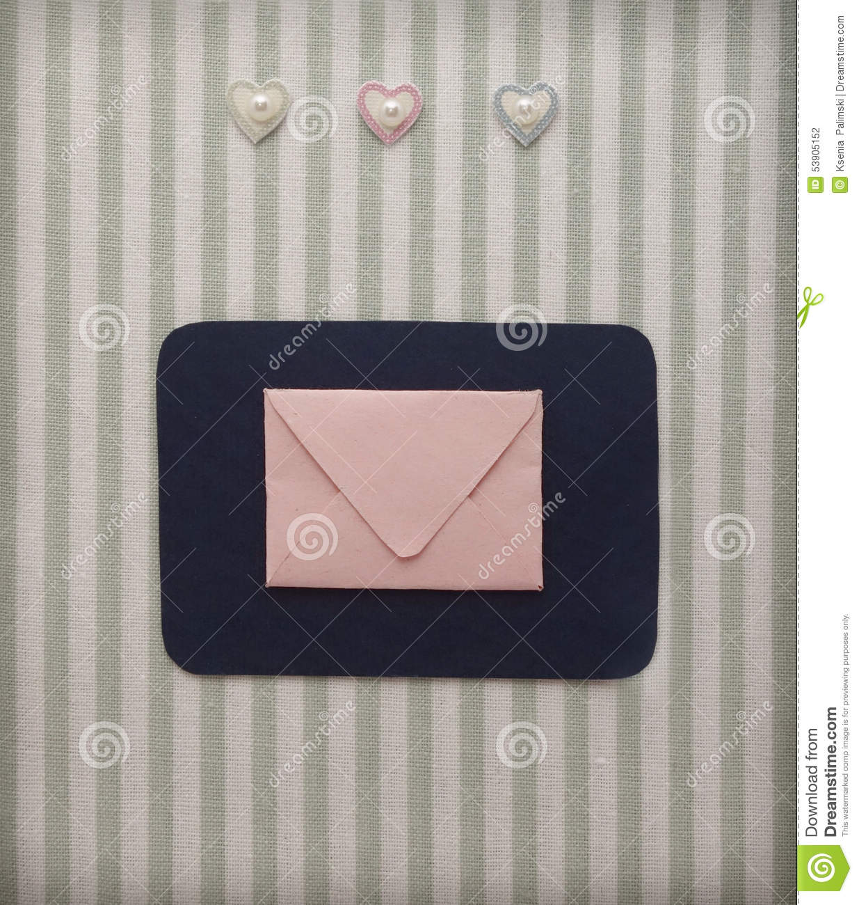 Textile Stock Distributors Mail: Retro Style Album Page With Mail Envelope And Hearts