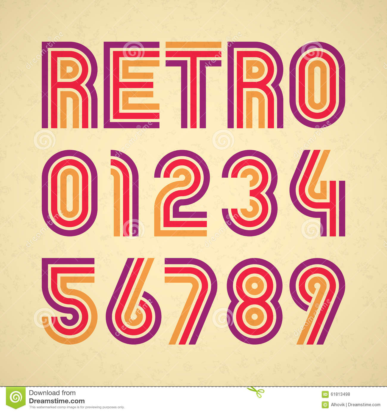 Retro Style Alphabet Numbers Stock Vector - Image: 61813498