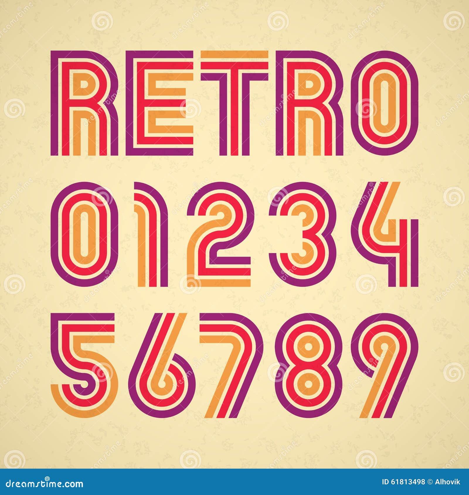 Retro Style Alphabet Numbers Stock Vector - Image: 61813498