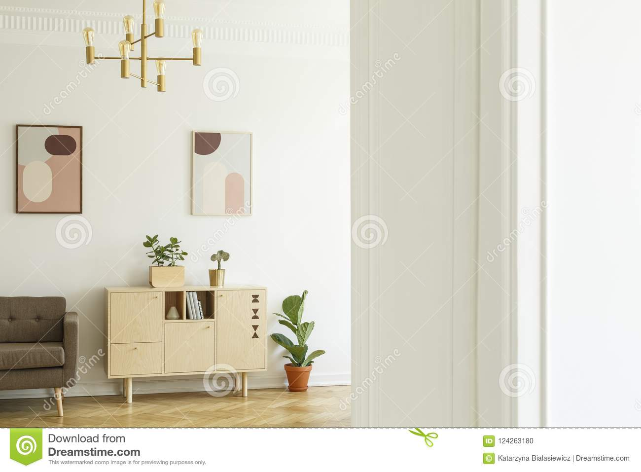 Retro Style Apartment Interior With A Minimalist Wooden Cabinet