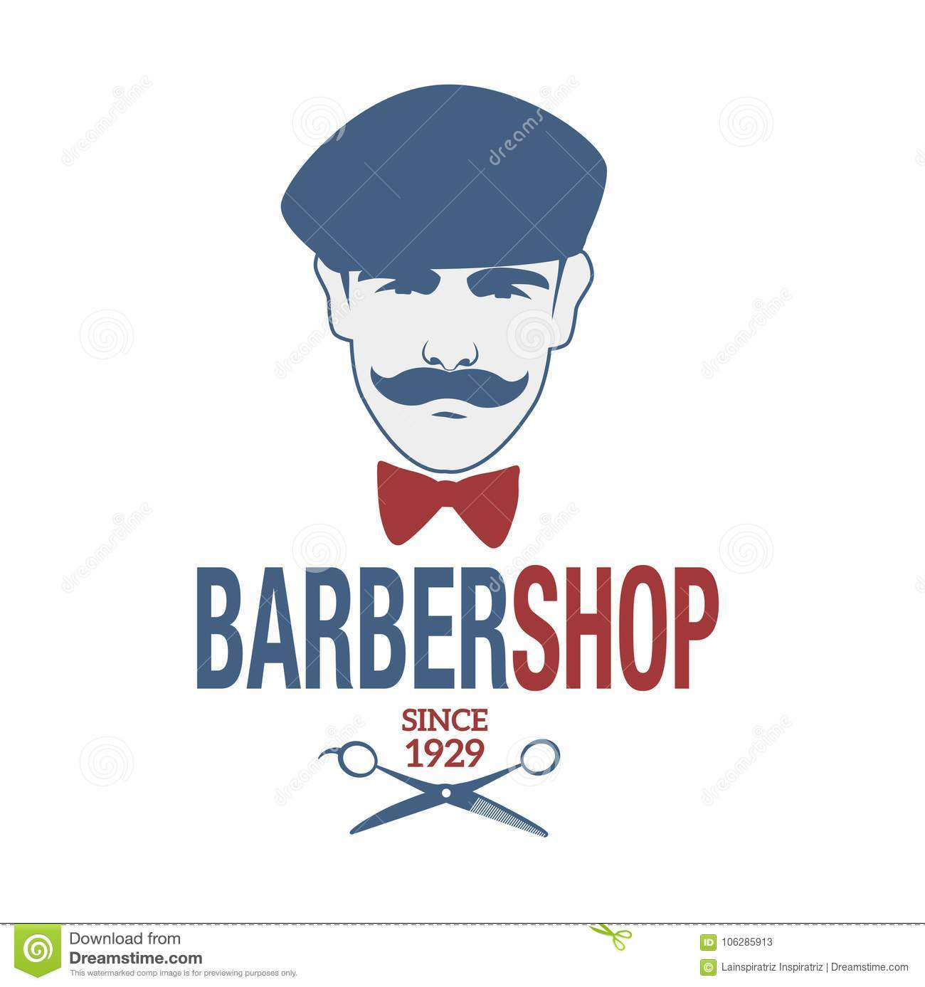 Retro Style Barber Shop Emblem Representing A Man With A Mustache