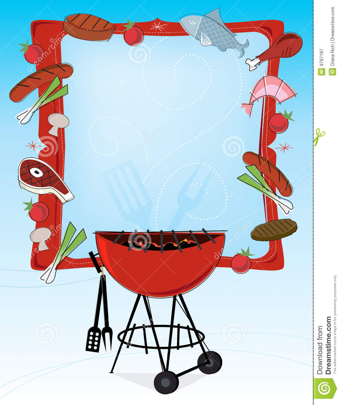 Retro Style Bbq Frame Stock Vector Illustration Of