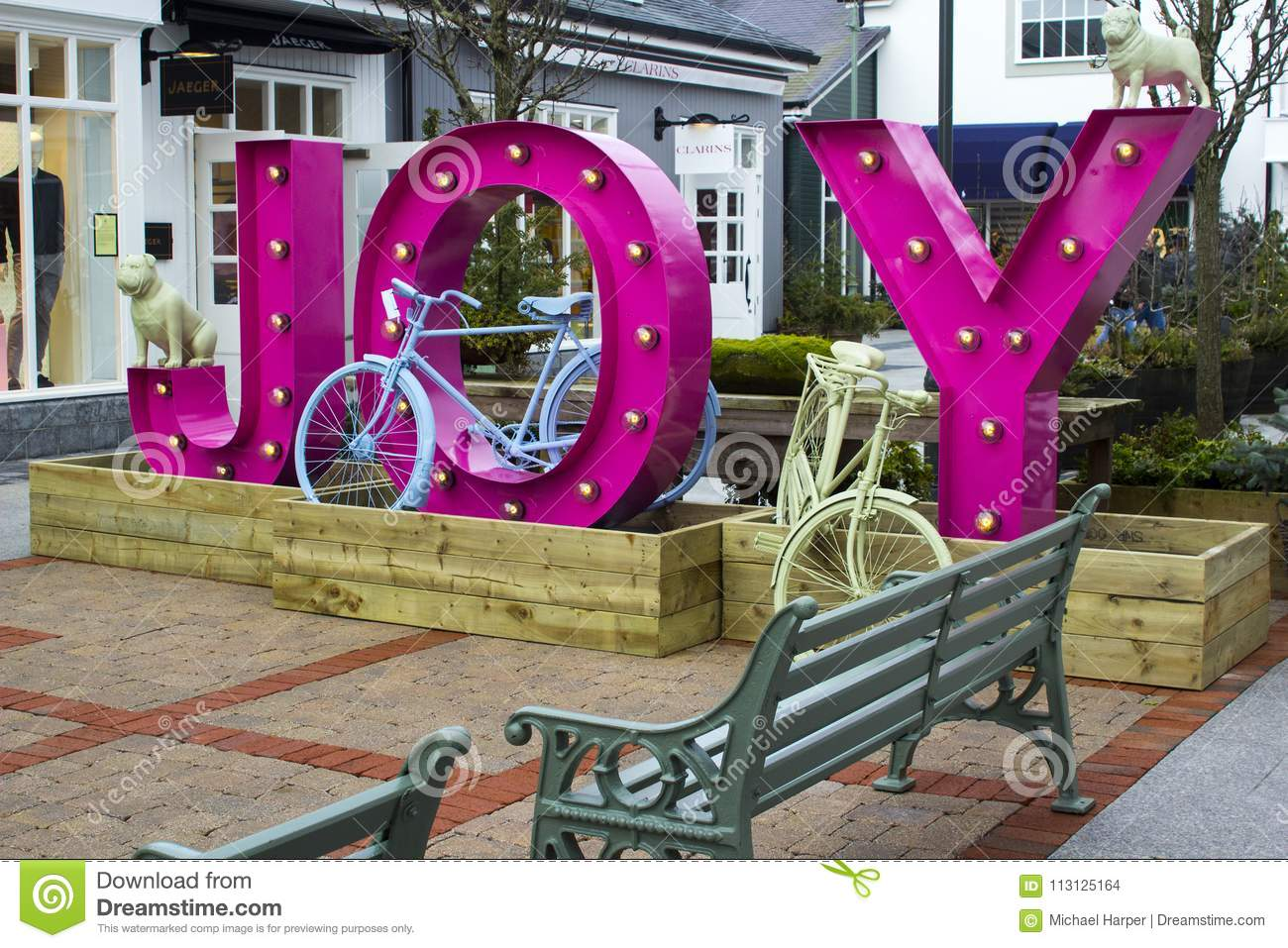 ff63a30edf38 16 March 2018 Retro style bicycles used as decorative items of interest at  the luxury Kildare Village retail outlet in County Kildare Ireland