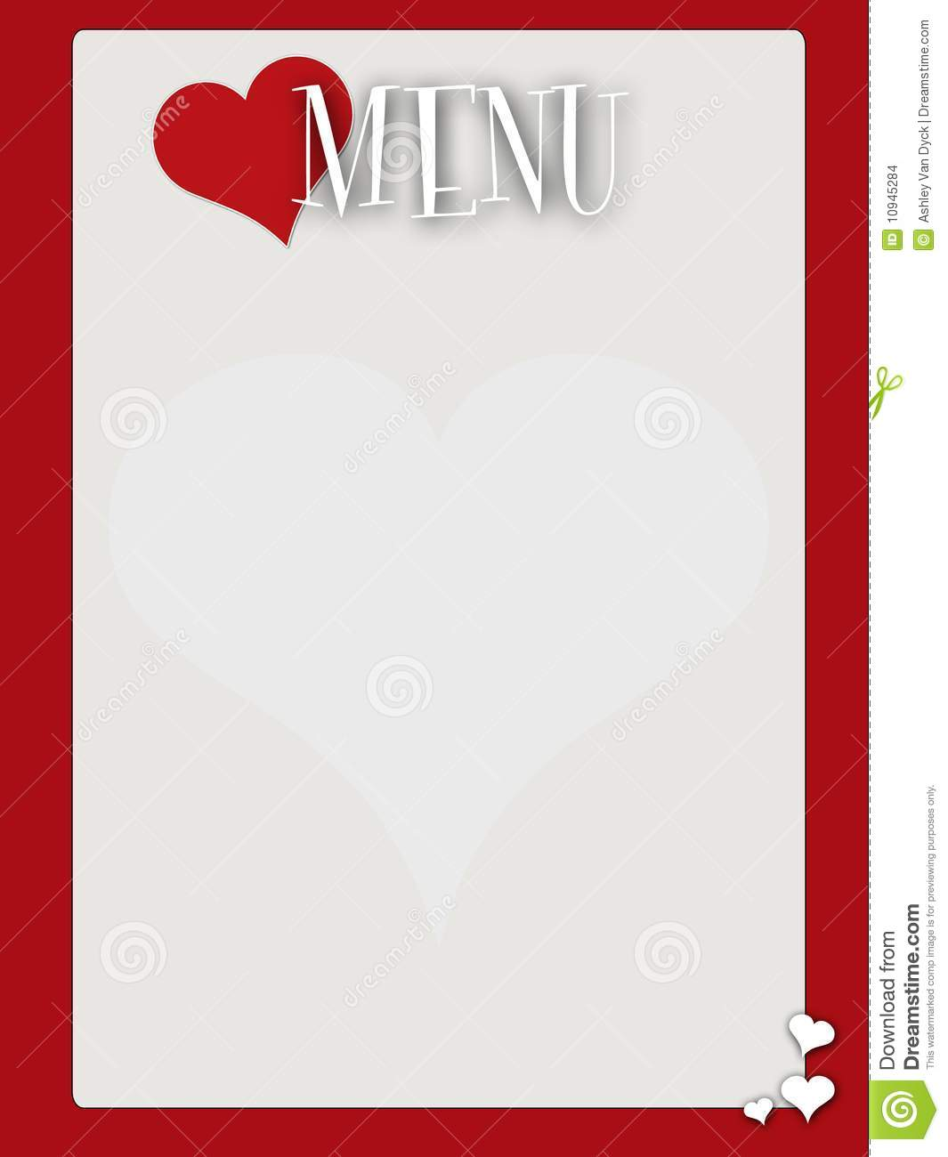 Retro Style Blank Valentines Menu Stock Images - Image: 10945284