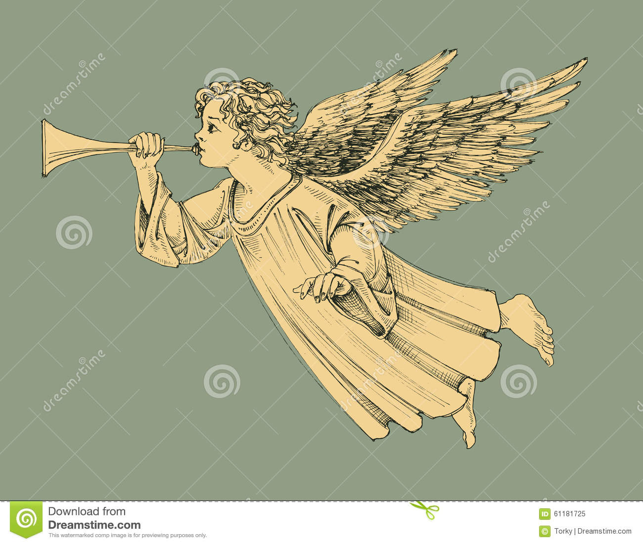 Retro style Christmas angel hand drawn design element for Christmas projects