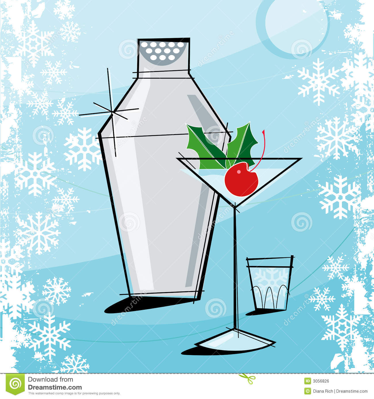 Retro-style Christmas Martini Stock Vector - Illustration of