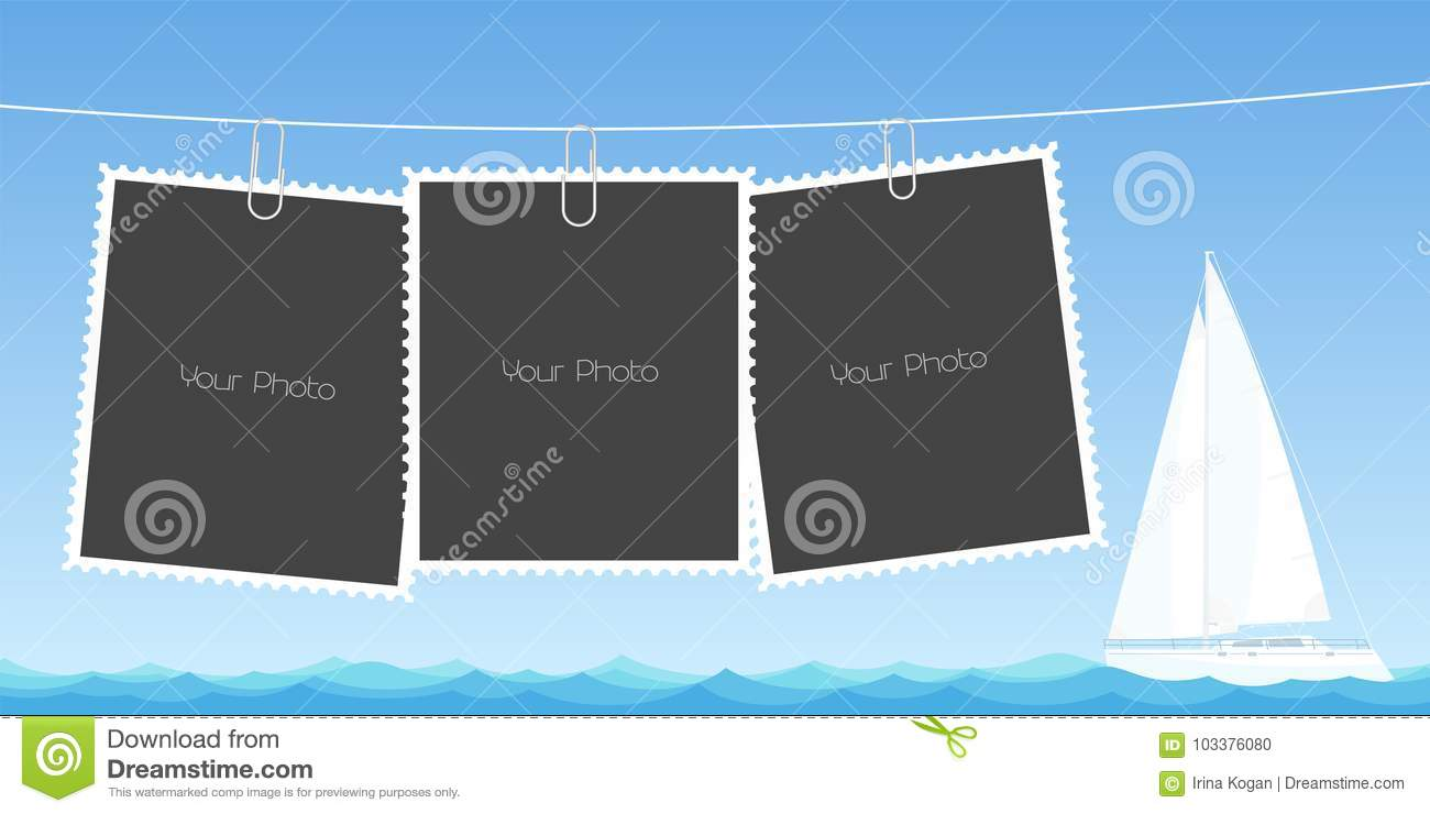 Retro Style Collage Of Photo Frames Vector Illustration Stock Vector