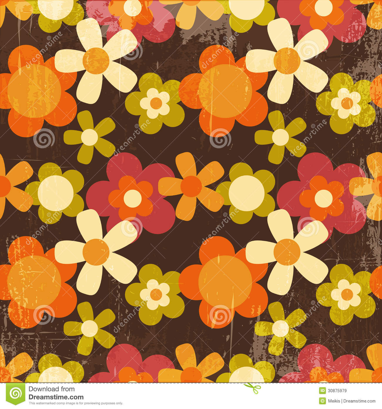 Retro Style Colorful Flower Seamless Pattern Royalty Free Stock Images ...