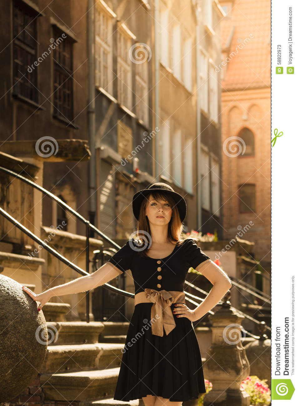 Retro Style Fashion Woman In Old Town Stock Photo Image 58822973