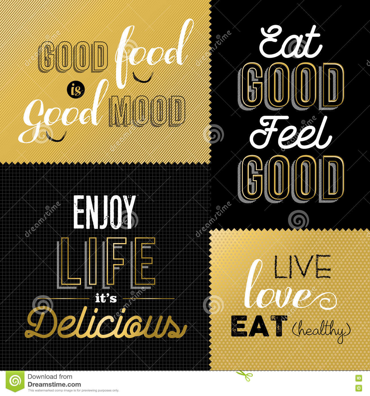 Retro style food quotes set in gold color stock vector