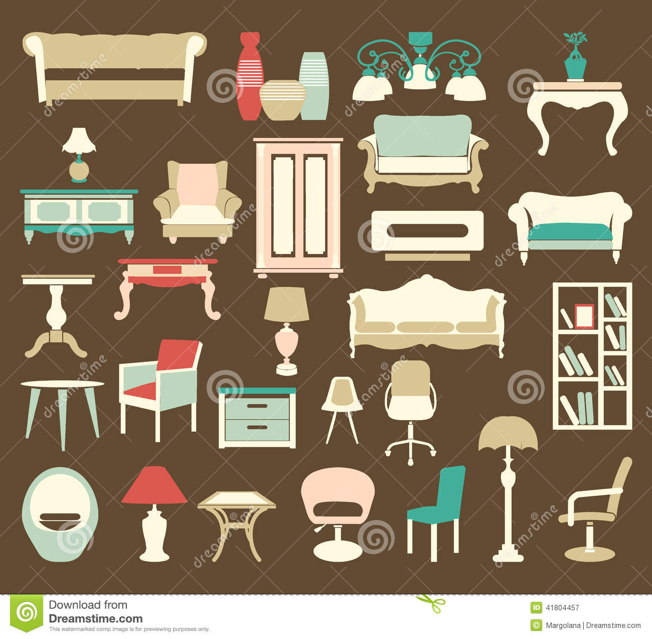 Retro Style Furniture Icons Silhouettes Stock Vector Image 41804457