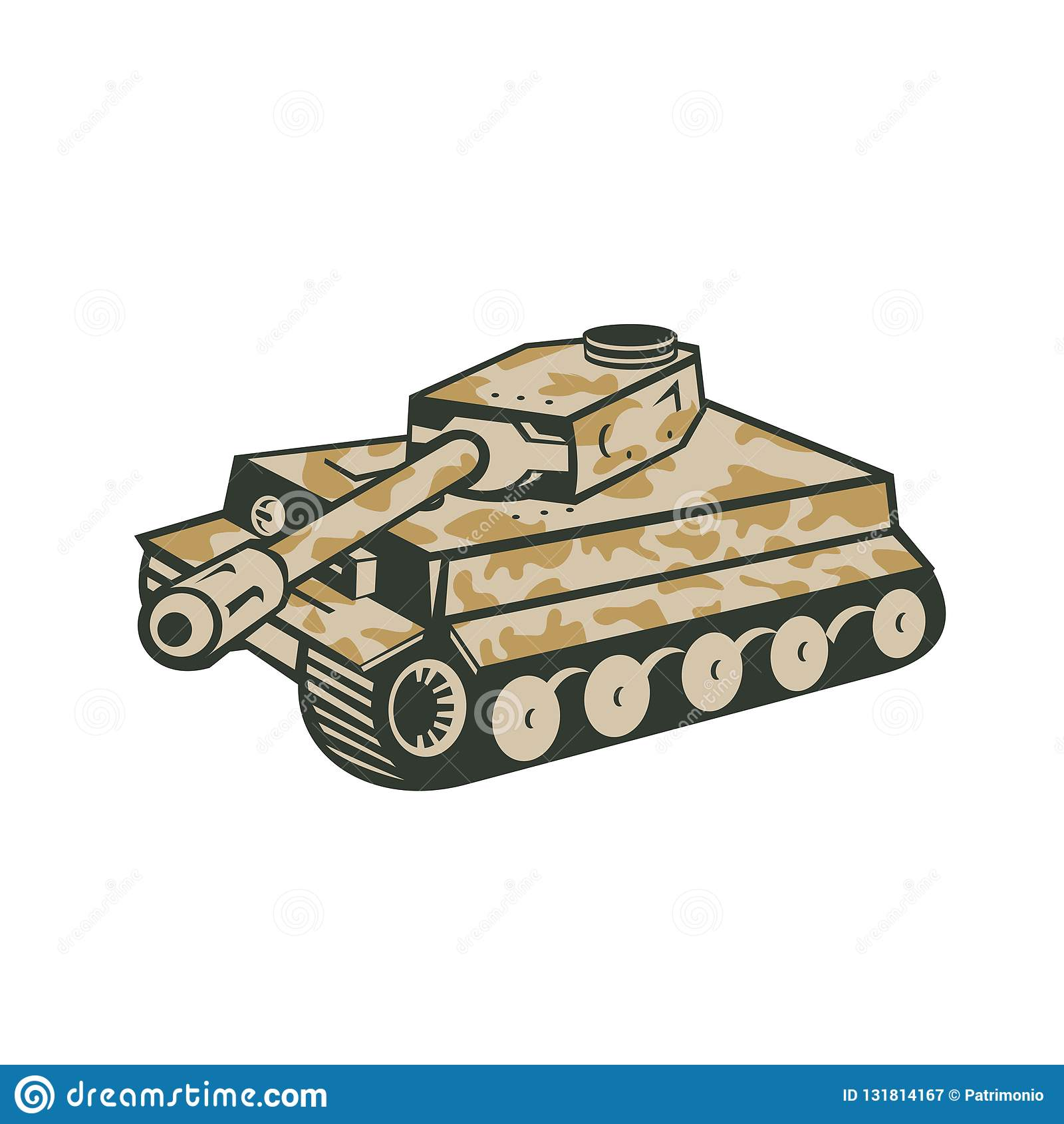 World War Two Panzer Tank Retro Stock Vector - Illustration