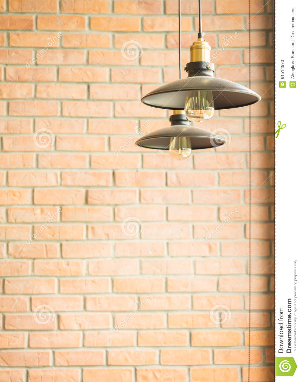 retro style incandescent bulb lamp in vintage coffee shop
