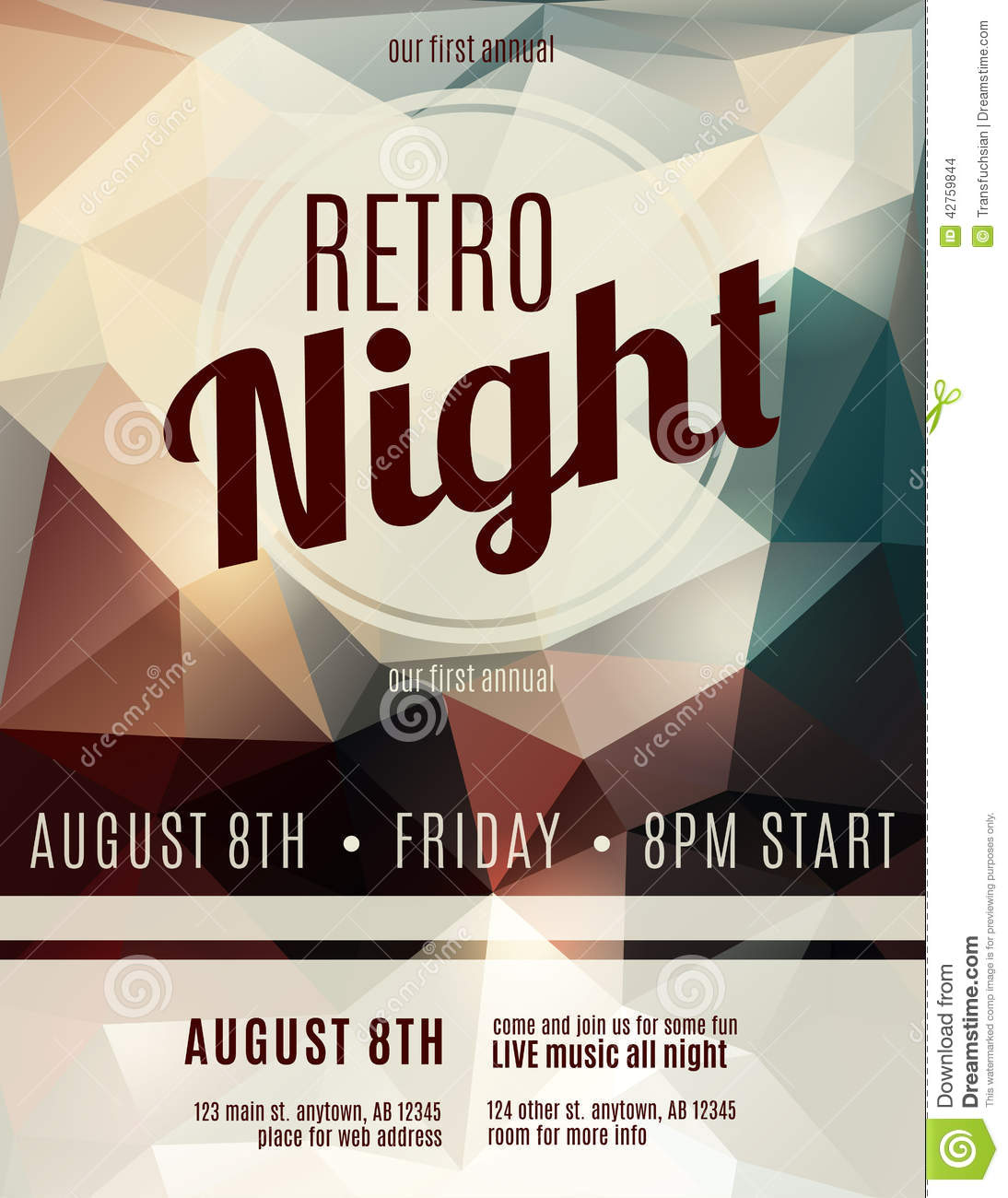 retro style night club flyer template stock vector illustration of