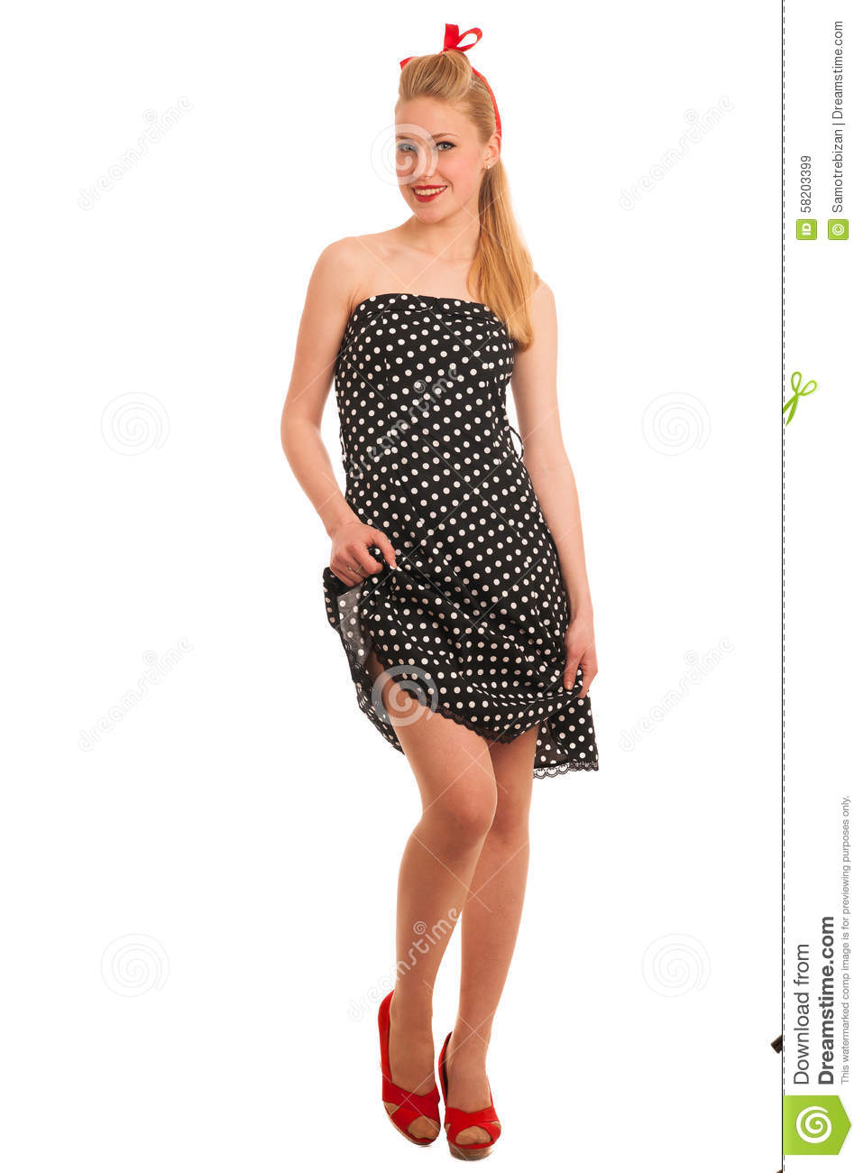 Cute Pin Up Style Fashion Model In Retro Dress Stock Image 28481713
