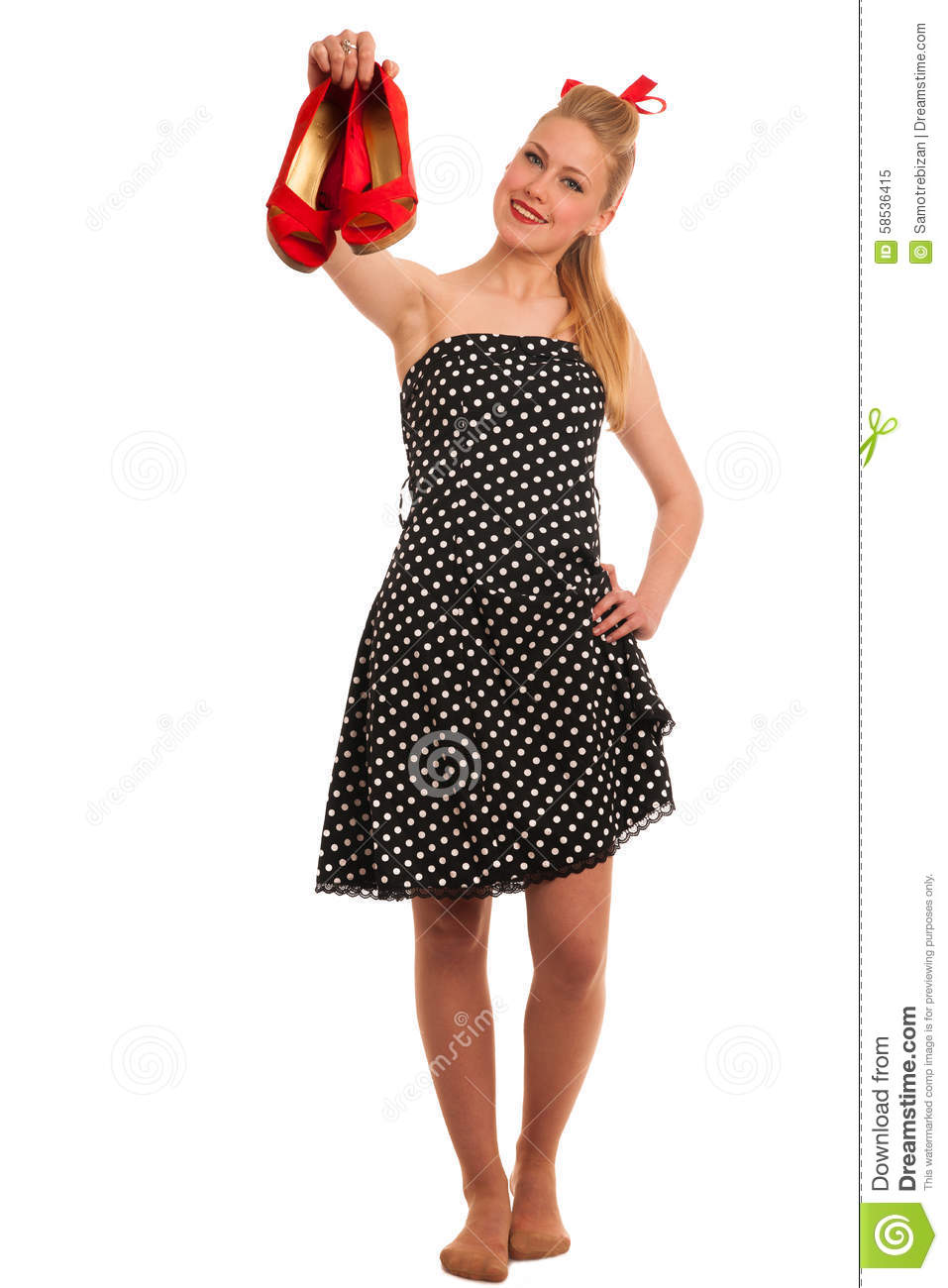 Cute Pin-Up Style Fashion Model In Retro Dress Stock Image ...