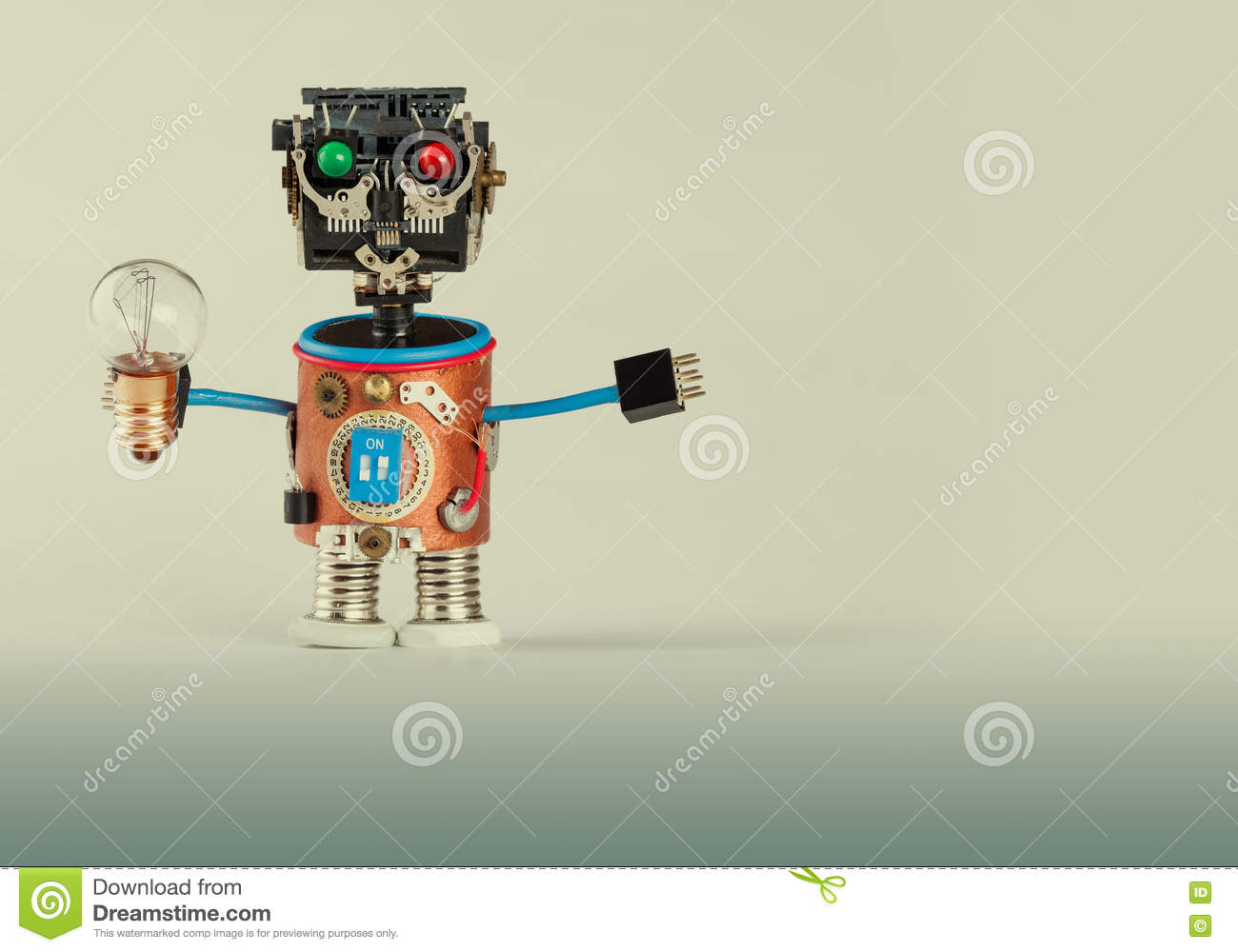 Retro Style Robot With Light Bulb  Plastic Head, Colored Green Red