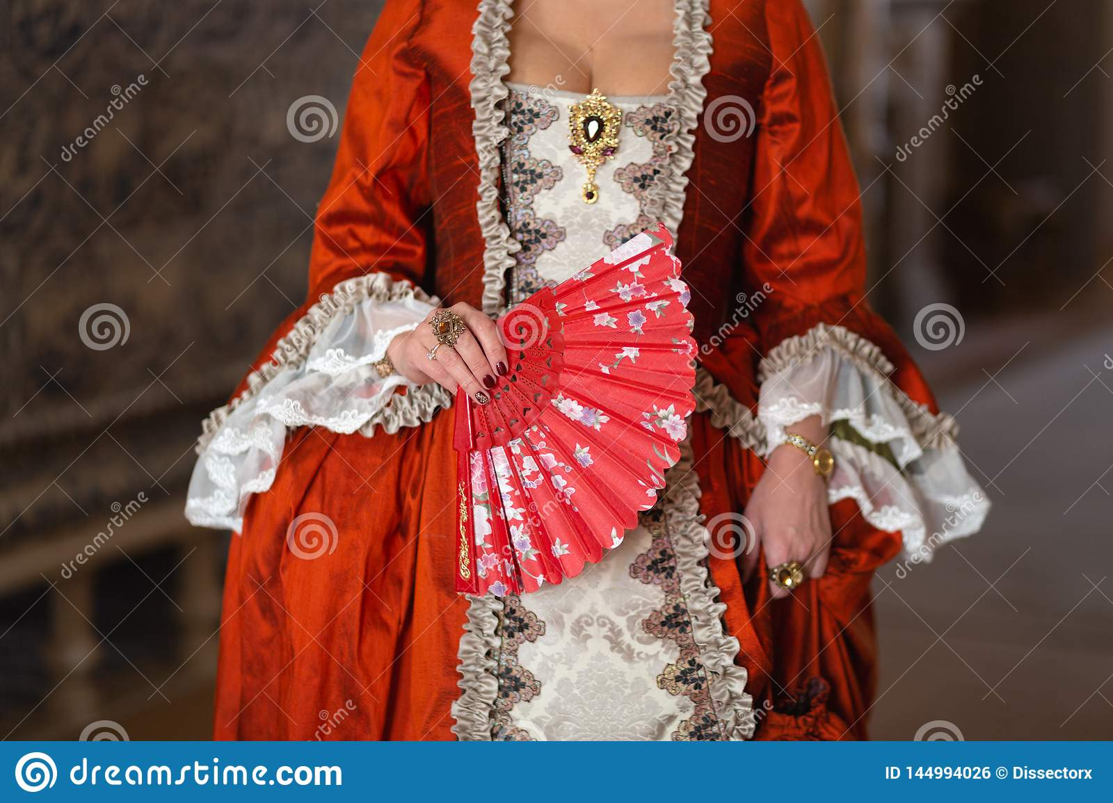 Retro style royal medieval ball - Majestic palace with gorgeous people dressed in king and queen`s friends dresses with