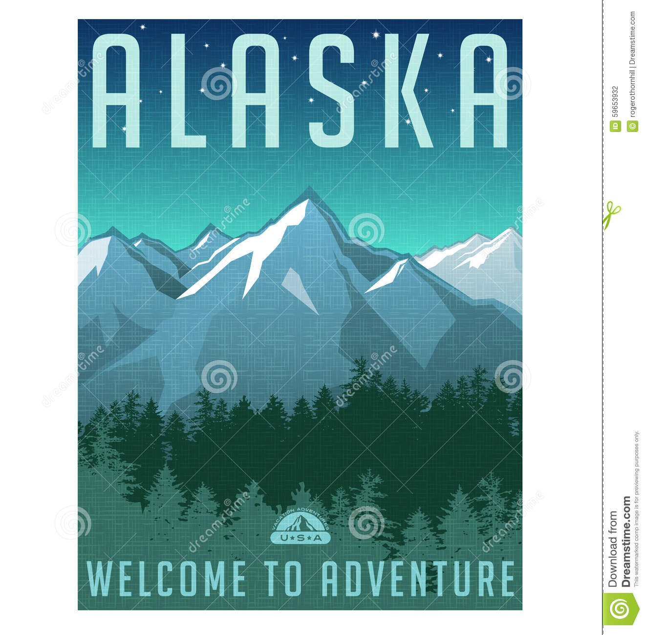 Poster design landscape - Retro Style Travel Poster Or Sticker Alaska Stock Photography